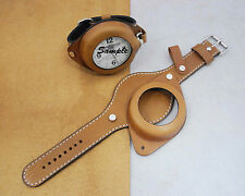 Leather Watch Strap/Band for Large Pocket Watch with Cover Light Brown #800