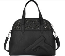 2 Bags Set!3D HandBag Fashion Women Embossed Rock Punk Gun Shoulder Bag+1 Purse