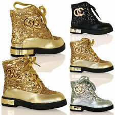 GIRLS FULLY LINED FLAT LOW HEEL WINTER BOOTS MILITARY ZIP UP SEQUIN SPARKLE SIZE