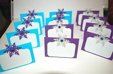 HANDMADE FROZEN BIRTHDAY PARTY BUFFET SNOWFLAKES ELSA FOOD TENT CARD PLACECARDS