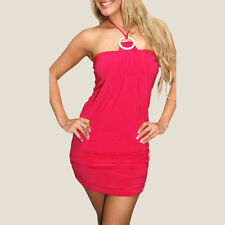 Stunning Halter Neck Cocktail Clubwear Mini Dress Diamonte Ring co9623 Hot Pink