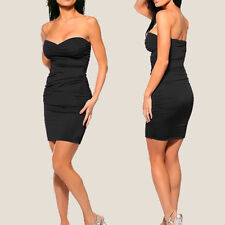 Ruched Strapless Evening Party Night Club Dress co9687  Black