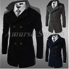 Mens Slim Fit Double Breasted Pea coat Wool Trench Jacket Coat Outwear Overcoat