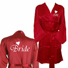 Personalised Red Coloured Wedding Robe / Dressing Gown - Bridesmaids Bride Mothe