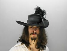 Musketeer leather hat (Black ) pirate larp sca renaissance fair medieval feather