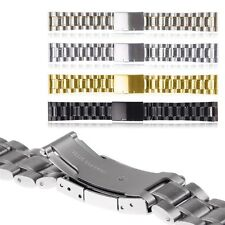 18 20mm 22mm Stainless Steel Solid Links Watch Band Strap Bracelet Straight End