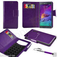 Purple Leather Suction Wallet Flip Mobile Phone Case For Various Samsung Phones