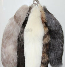 "15""Genuine Large Red/Silver Fox Tail Keychain Fur Tassel Bag Tag Charm Keyring"