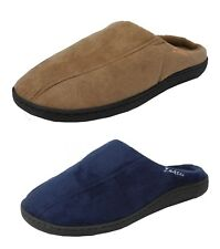 Mens Zedzzz Micro Suede Mules Slippers in Blue or Brown Sizes 6 to 12