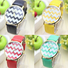 New Fashion Women's Girl Leather Style Striped Face Watch With Gold Accents