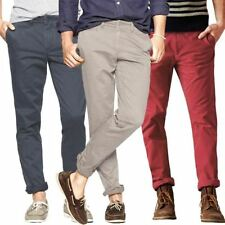 """Mens Skinny Chinos Washed Cotton Twill Trousers Casual Pants, W 28-40"""" L 31""""-33"""""""