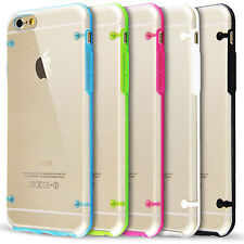 F iPhone 4 4S 5 5S 6S 6S Plus Candy Color Clear Slim TPU Bumper Back Case Cover
