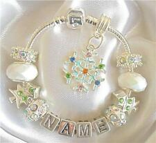 LADIES/GIRLS CHARM BRACELET ANY NAME CHRISTMAS SNOWFLAKE  SPARKLE GIFT BOXED