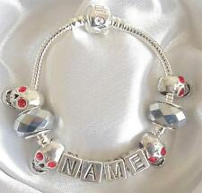PERSONALISED HALLOWEEN CHARM BRACELET ANY NAME SILVER BLACK SKULLS