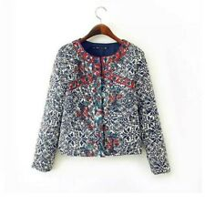 Winter Womens round neck blue and white Retro print Cotton jacket coat HOT SALE