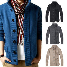 Mens Hot Casual Knit cardigan sweater thick sweater Coat Korean Slim line Jacket