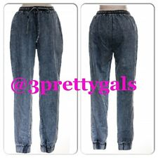 NEW ELASTIC DENIM ACID WASH STRETCHED JEANS CUFF ELASTIC LEGS