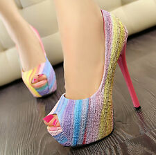 Stylish Color Matching Pumps High Heel Platform Womens Lady Open Toe Shoes CA EF