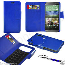 Blue Leather Suction Wallet Flip Mobile Phone Case Cover For Various HTC Models