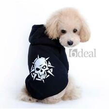 Dog Pet Puppy Hoodie Sweater Coat Clothes Apparel T Shirt Black Skull