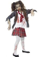 Halloween Zombie School Girl Blood Stained Costume Horror Fun Tartan Skirt Tie