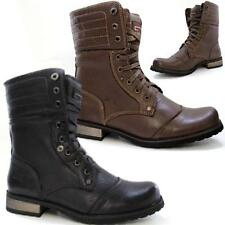 Mens Army Boots Lace Up Ankle Cowboy Military New Biker Riding Winter Shoes Size