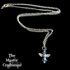☆BIRTHSTONE GUARDIAN ANGEL CRYSTAL NECKLACE PENDANT CHARM GIFT BOX SILVER PLATE☆