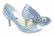 SALE!! Silver patterned Bridal Wedding Crystal Peeptoe court using Swarovski