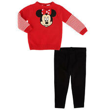 Disney Baby Girls 2 Piece Red Minnie Mouse Long Sleeve Sweater Top & Black Pant