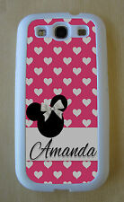Minnie Mouse Pink/ White Hearts Personalized Custom Case Samsung Galaxy