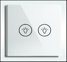 Designer Glass Touch Light Switch/Switches 2 Gang 1 Way - UK Distributor