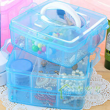 Plastic Storage Box Jewelry Case Craft 3 Layer 18 Compartments Adjustable