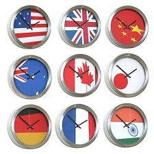 Roco Verre Abstract Flag Time Zone Wall Clocks 26cm
