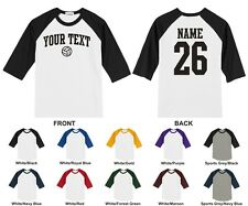 Custom Text & Number Personalized Volleyball Raglan Baseball T-shirt ARCHED TEXT