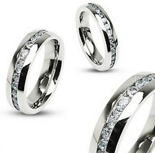 316L Stainless steel Eternity Clear CZ Wedding Band Ring 8mm wide size 9 - 13