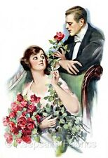 Victorian Couple Spray of Red Roses Quilt Block FrEE ShiPPinG WoRld WiDE