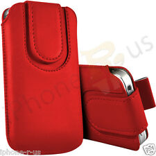 Red Magnetic PU Leather Pull Tab Flip Case For Various Vodafone Models