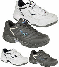 MENS ASCOT LEATHER TRAINERS CASUAL RUNNING GYM WALKING SPORTS HI TOPS SHOES WIDE