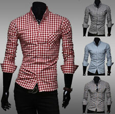 Fashion Mens Plaids Designed Casual Dress Slim Fit T-Shirts Casual Long Sleeve
