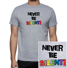 Never Be Silent- Gray & Rainbow T-Shirt Gay & Lesbian Pride Clothing & Apparel