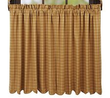 1 pair Amherst Golden Mustard Plaid Cotton Lined Country Window Cafe Tiers