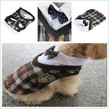 Gray Dog Uniforms Plaid Style Clothes Dog Apparel SIZE 2-6 NEW