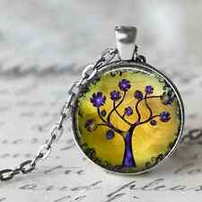 Tree of Life Charm Necklace Altered Art Silver Plated Pendant 12 designs
