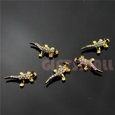 Halloween Glitter Lizard 3D Nail Art Gold Metal Nails Decorations Rhinestone DIY