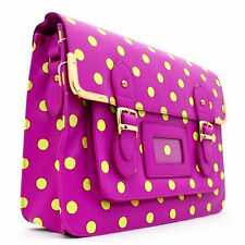 Ladies Purple Polka Dot Satchel Faux Leather Vintage School Shoulder Bag Handbag
