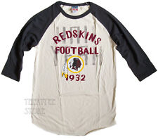 Junk Food NFL Washingtin REDSKINS t-shirt Flocking Print Rookie Raglan NEW SALE