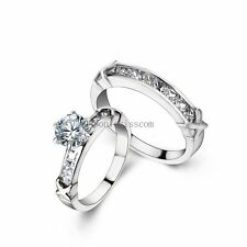 Women Stainless Steel Infinity Rings Round CZ Bridal Engagement Wedding Ring Set