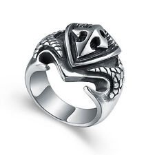 Men's Gothic Shield Cross Biker Ring Jewelry Stainless Steel Silver US Size 7-13