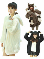Cute Girl Teddy Bear Ear Women Warm Coat Jacket Hoodie Fleece Sweatshirt Outwear