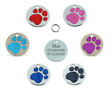 Quality 25mm Glitter Paw Design Pet Id Tag, Dog, Cat, Free Engraving and P&P